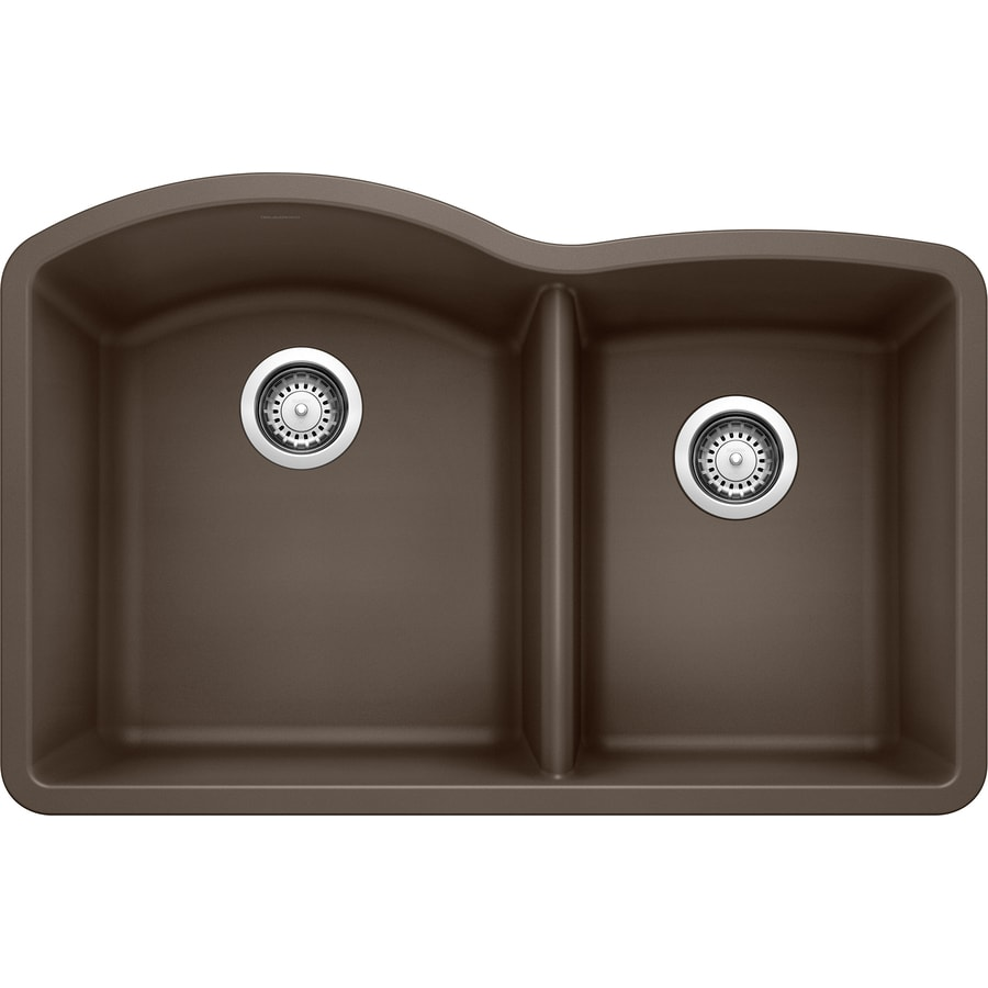 BLANCO Diamond 20.843-in x 32-in Cafe Brown Double-Basin Granite Undermount Residential Kitchen Sink