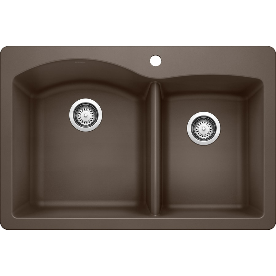 BLANCO Diamond 22.0000-in x 33.0000-in Cafe Brown Double-Basin Granite Drop-in or Undermount 1-Hole Residential Kitchen Sink