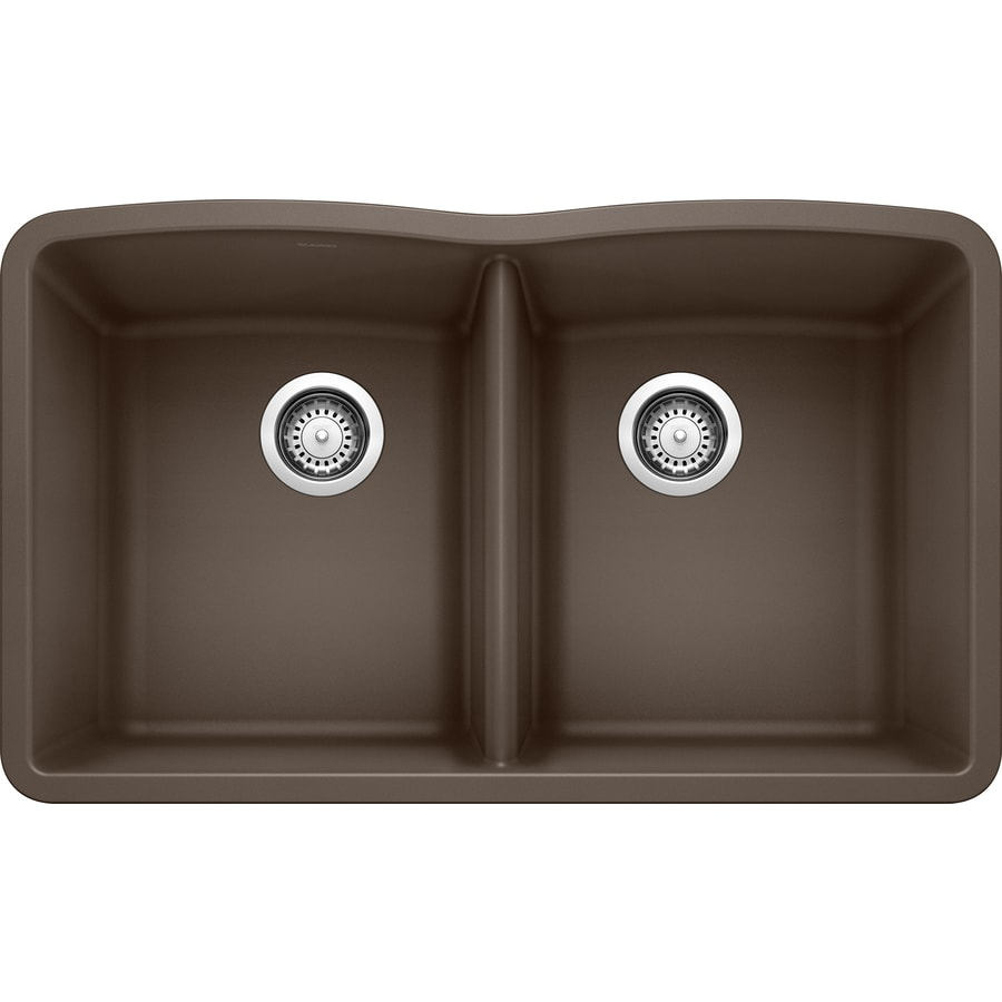 BLANCO Diamond 19.25-in x 32-in Cafe Brown Double-Basin Granite Undermount Residential Kitchen Sink