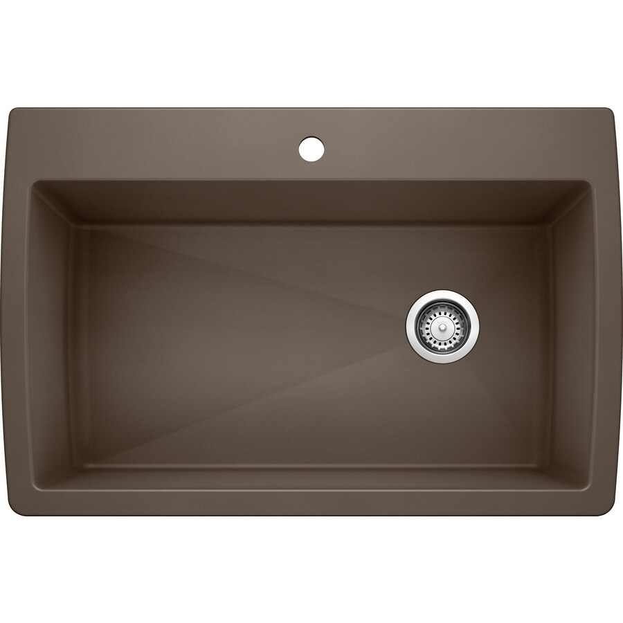 BLANCO Diamond 22-in x 33.5-in Cafe Brown Single-Basin Granite Drop-In 1-Hole Residential Kitchen Sink