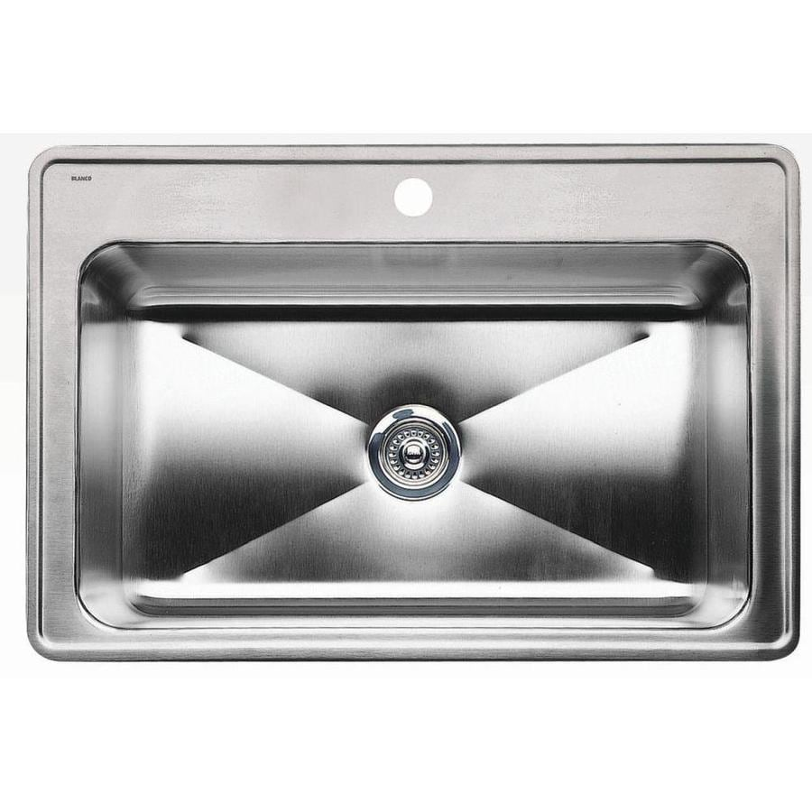 BLANCO Magnum 22-in x 33-in Satin Single-Basin Stainless Steel Drop-In 1-Hole Residential Kitchen Sink