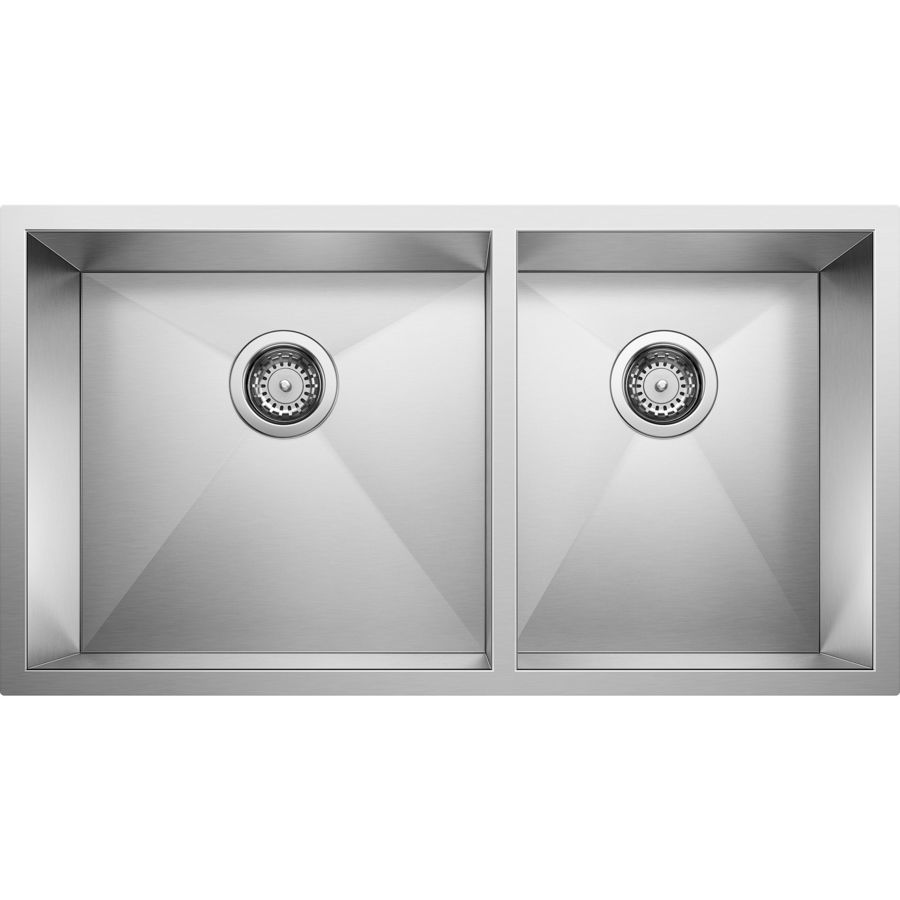 BLANCO Precision 18.0-in x 33.0-in Double-Basin Stainless Steel Undermount Residential Kitchen Sink