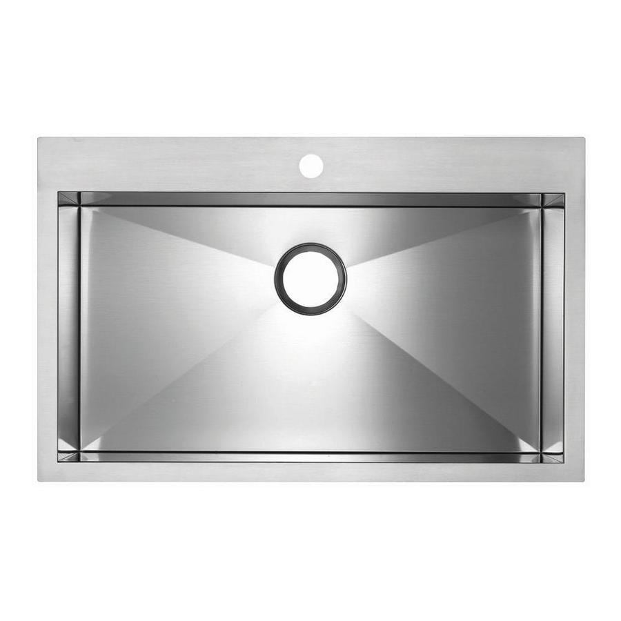 BLANCO Precision Microedge 20.5-in x 30-in Stainless Steel Single-Basin-Basin Stainless Steel Drop-in 1-Hole Residential Kitchen Sink