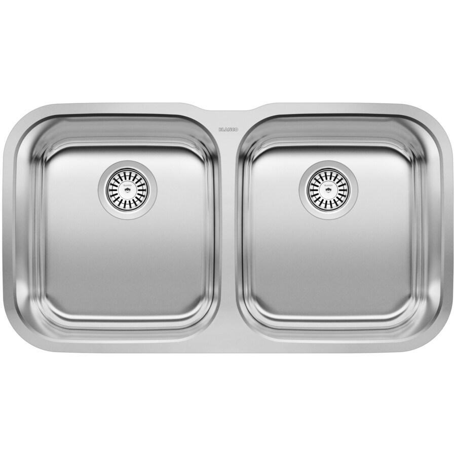 BLANCO Stellar 18.5-in x 33.33-in Stainless Steel Double-Basin Undermount Residential Kitchen Sink