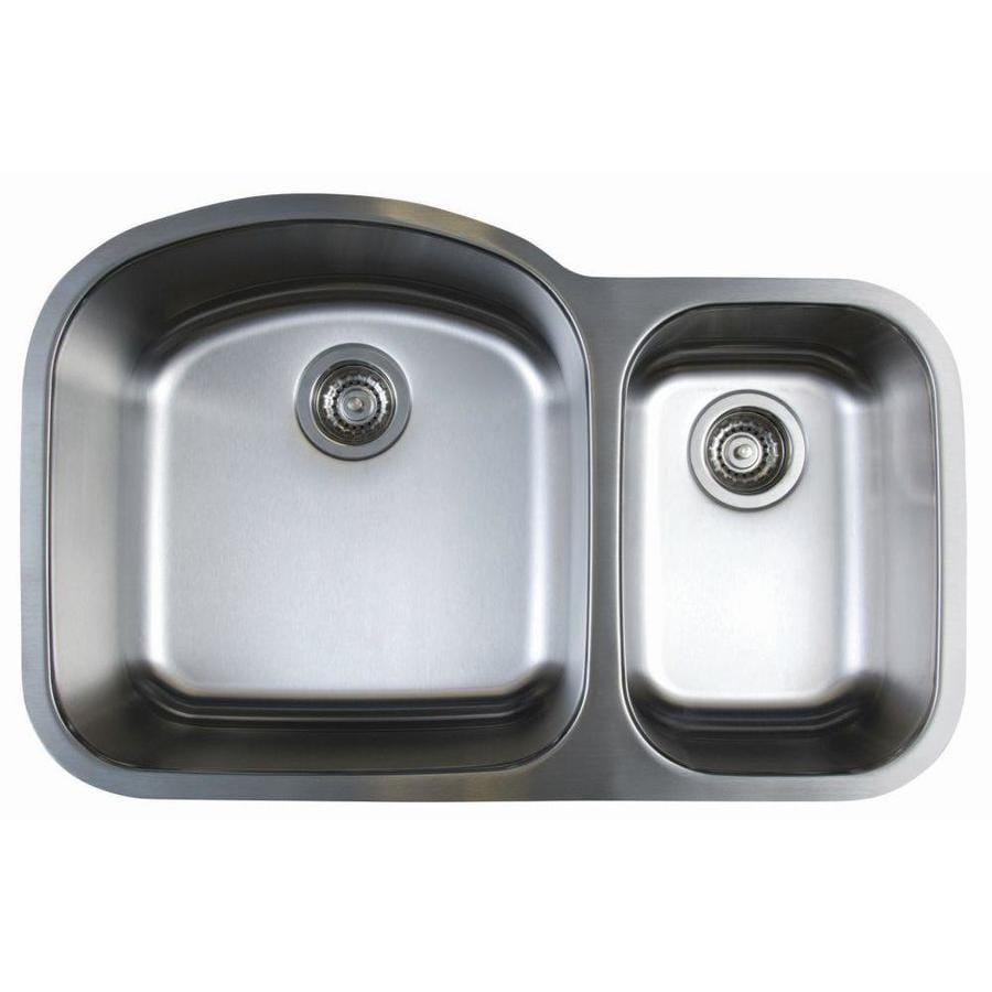 BLANCO Stellar 31.75-in x 20.5-in Refined Brushed Double-Basin Stainless Steel Undermount Residential Kitchen Sink