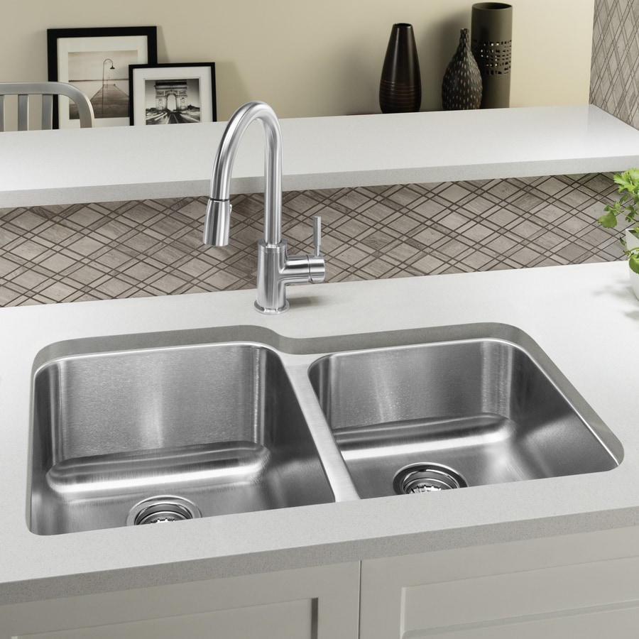 BLANCO Stellar 32.3300-in x 20.5-in Brushed Stainless Steel Double-Basin Stainless Steel Undermount Residential Kitchen Sink