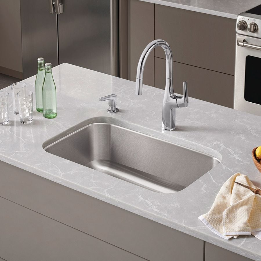 BLANCO Stellar 28-in x 18-in Refined Brushed Single-Basin Stainless Steel Undermount Residential Kitchen Sink