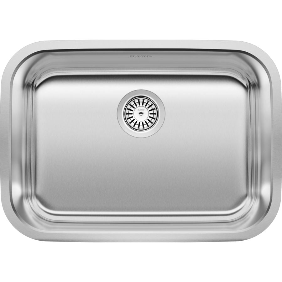 BLANCO Stellar 25-in x 18-in Refined Brushed Single-Basin Stainless Steel Undermount Residential Kitchen Sink