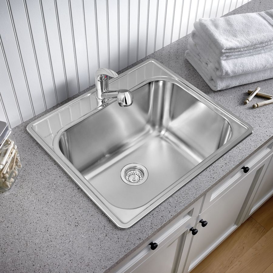 Laundry Basin Sink : ... Basin Brushed Satin Self-Rimming Stainless Steel Laundry Utility Sink