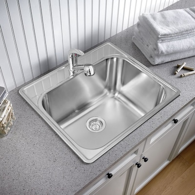 25 In X 22 1 Basin Brushed Satin Self Stainless Steel Laundry Sink