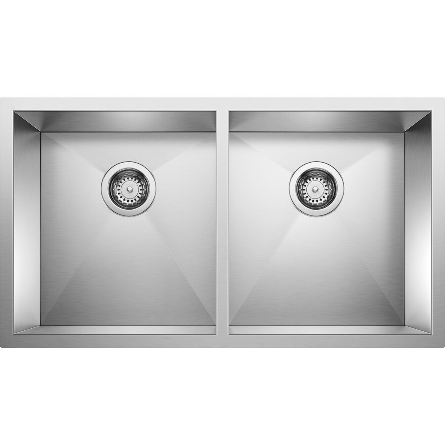 BLANCO Precision 18-in x 29-in Stainless Steel Double-Basin Undermount Residential Kitchen Sink