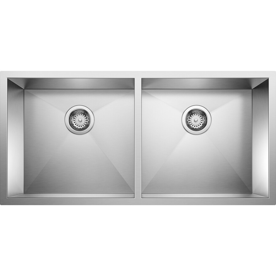 BLANCO Precision 18-in x 37-in Satin Polished Double-Basin Stainless Steel Undermount Residential Kitchen Sink
