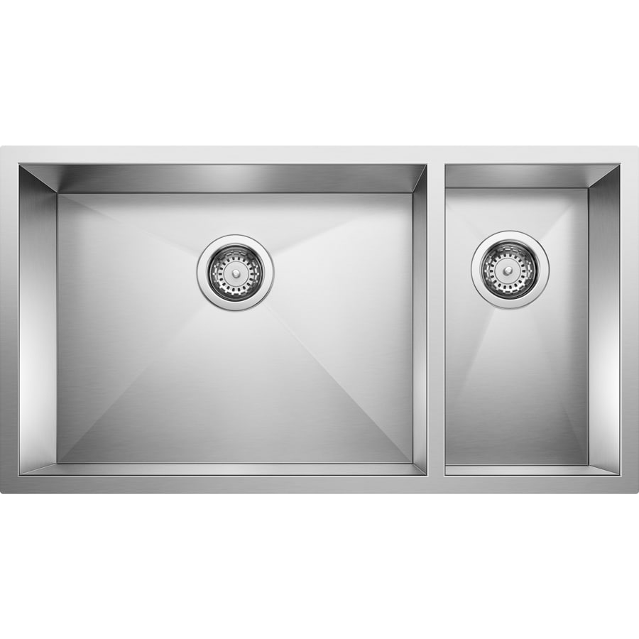 BLANCO Precision 18.0-in x 31.0-in Double-Basin Stainless Steel Undermount Residential Kitchen Sink