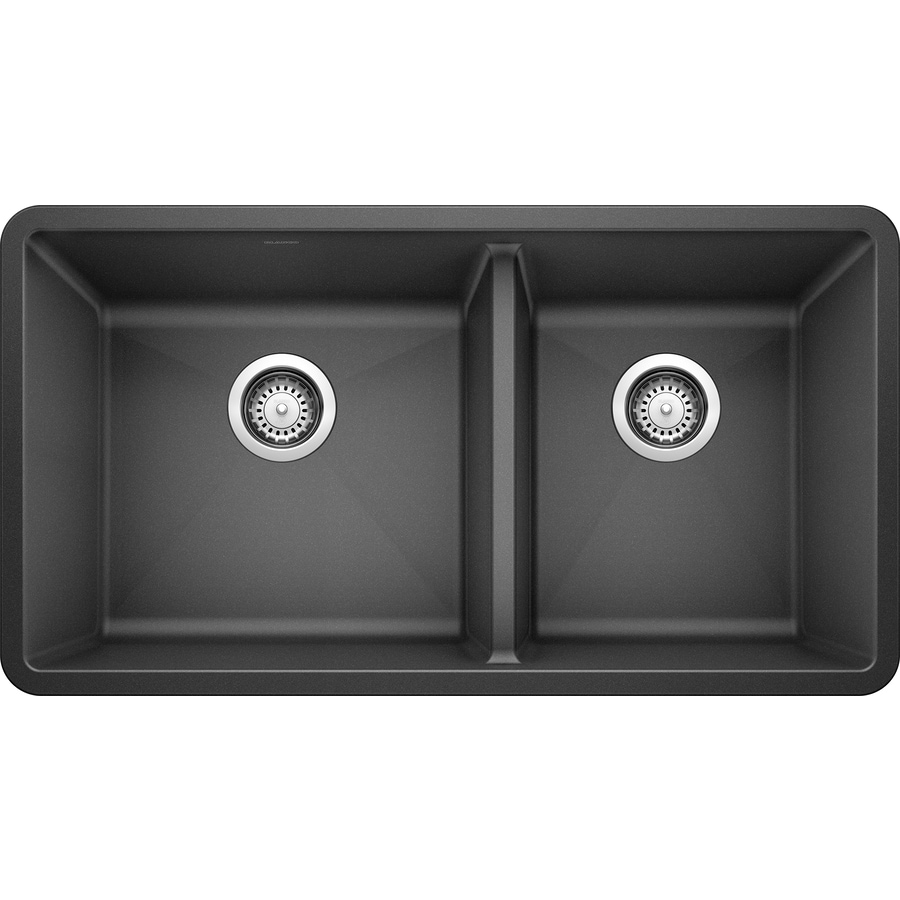 BLANCO Precis 18-in x 33-in Anthracite Double-Basin Granite Undermount Residential Kitchen Sink