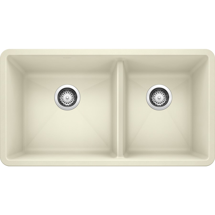 BLANCO Precis 18-in x 33-in Biscuit Double-Basin Granite Undermount Residential Kitchen Sink