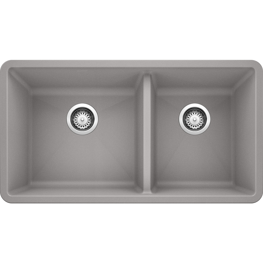 BLANCO Precis 18-in x 33-in Gray Double-Basin Granite Undermount Residential Kitchen Sink