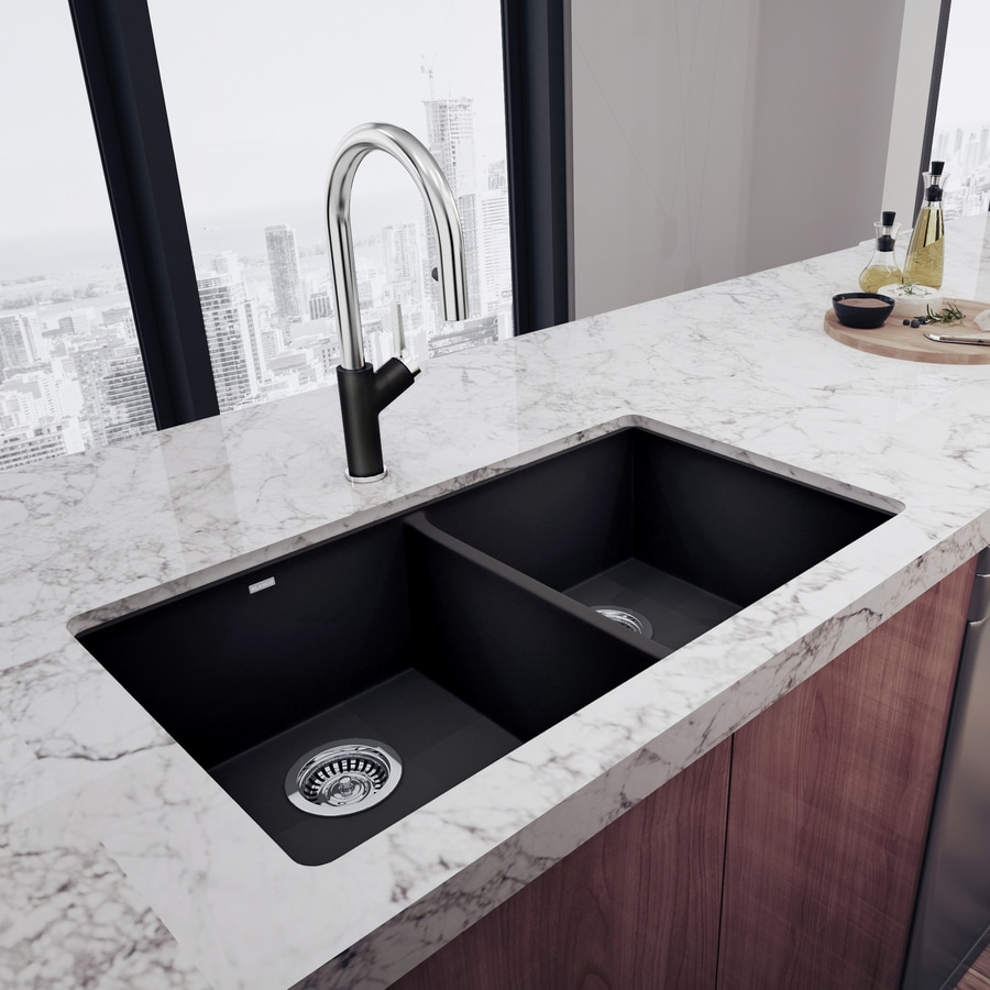 BLANCO Precis 18.125-in x 29.75-in Anthracite (Black) Double-Basin Granite Undermount Residential Kitchen Sink