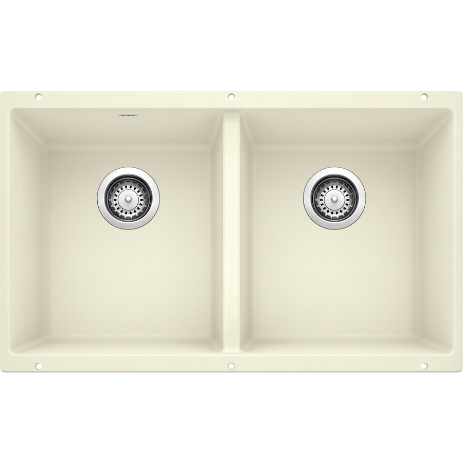 BLANCO Precis 18.1250-in x 29.7500-in Biscuit Double-Basin Granite Undermount Residential Kitchen Sink