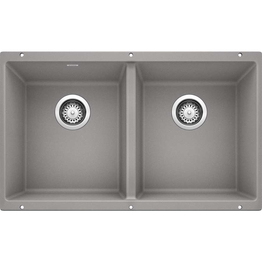 BLANCO Precis 18.125-in x 29.75-in Metallic Gray Double-Basin Granite Undermount Residential Kitchen Sink