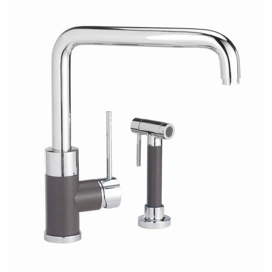 BLANCO Purus I Cafe Brown Mix 1-Handle High-Arc Kitchen Faucet with Side Spray