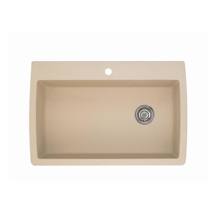 BLANCO Diamond 22-in x 33.5-in Biscotti (Off-white) Single-Basin Granite Drop-In 1-Hole Residential Kitchen Sink