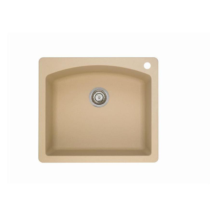 BLANCO Diamond 22-in x 25-in Biscotti Single-Basin Granite Drop-In 1-Hole Residential Kitchen Sink