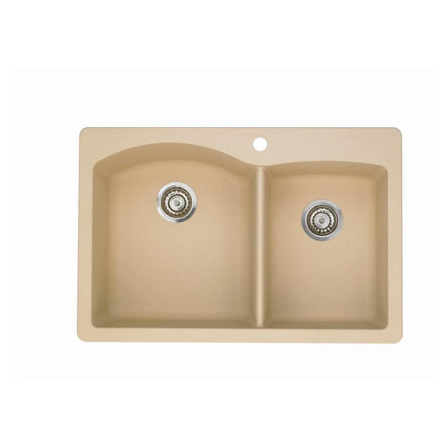 BLANCO Diamond 22-in x 33-in Biscotti Single-Basin-Basin Granite Drop-in or Undermount 1-Hole Residential Kitchen Sink