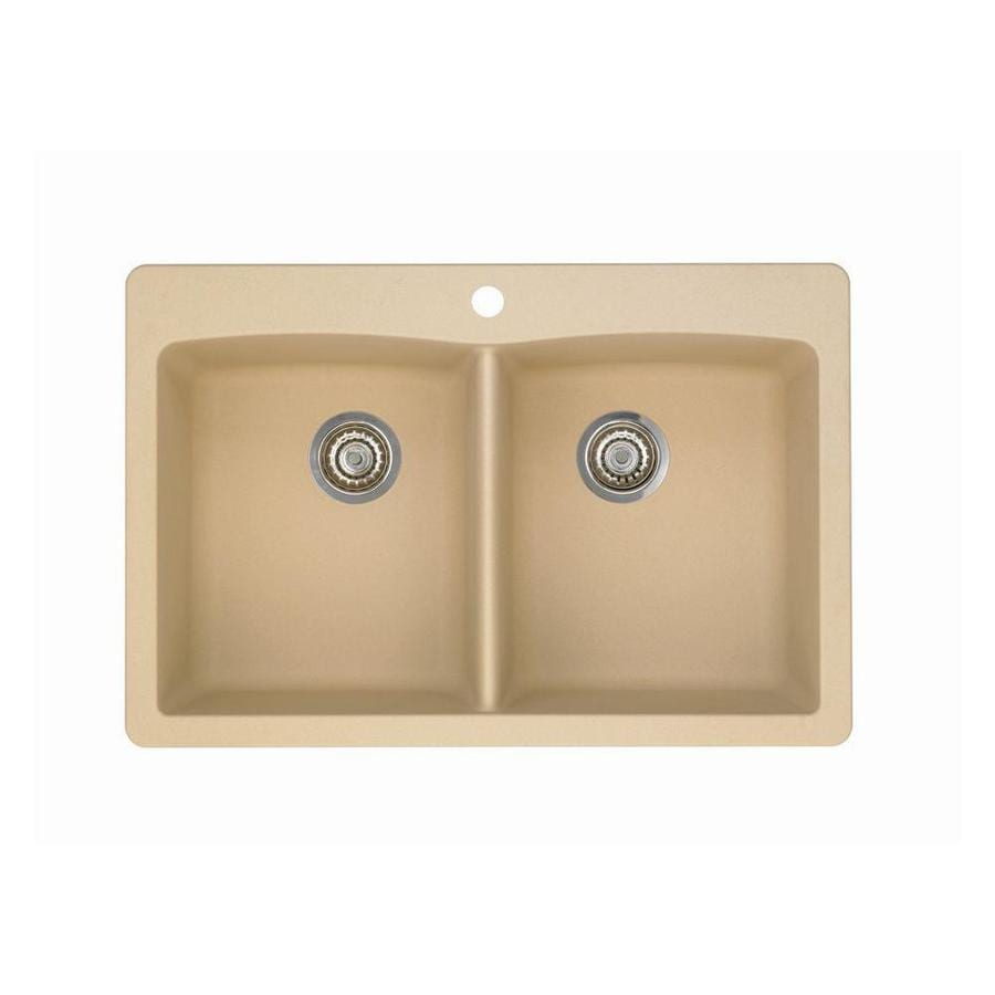 BLANCO Diamond 22-in x 33-in Biscotti (Off-white) Double-Basin Granite Drop-In 1-Hole Residential Kitchen Sink