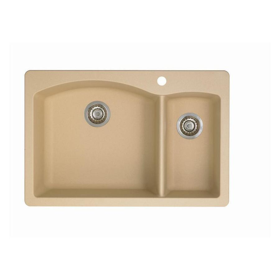 BLANCO Diamond 22.0-in x 33.0-in Biscotti Double-Basin Granite Drop-in or Undermount 1-Hole Residential Kitchen Sink