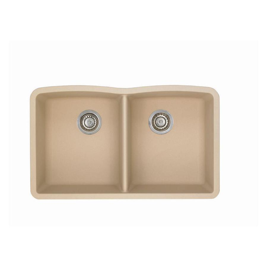 BLANCO Diamond 19.25-in x 32-in Biscotti Double-Basin Granite Undermount Residential Kitchen Sink