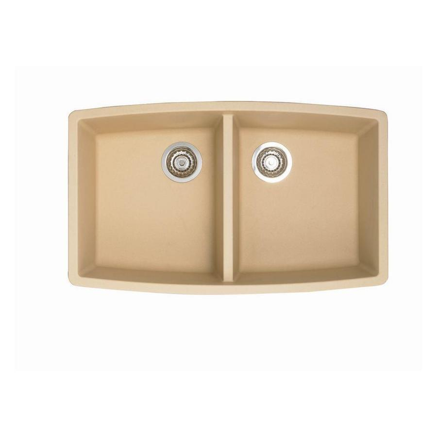 BLANCO Performa 20-in x 33-in Biscotti (Off-white) Double-Basin Granite Undermount Residential Kitchen Sink