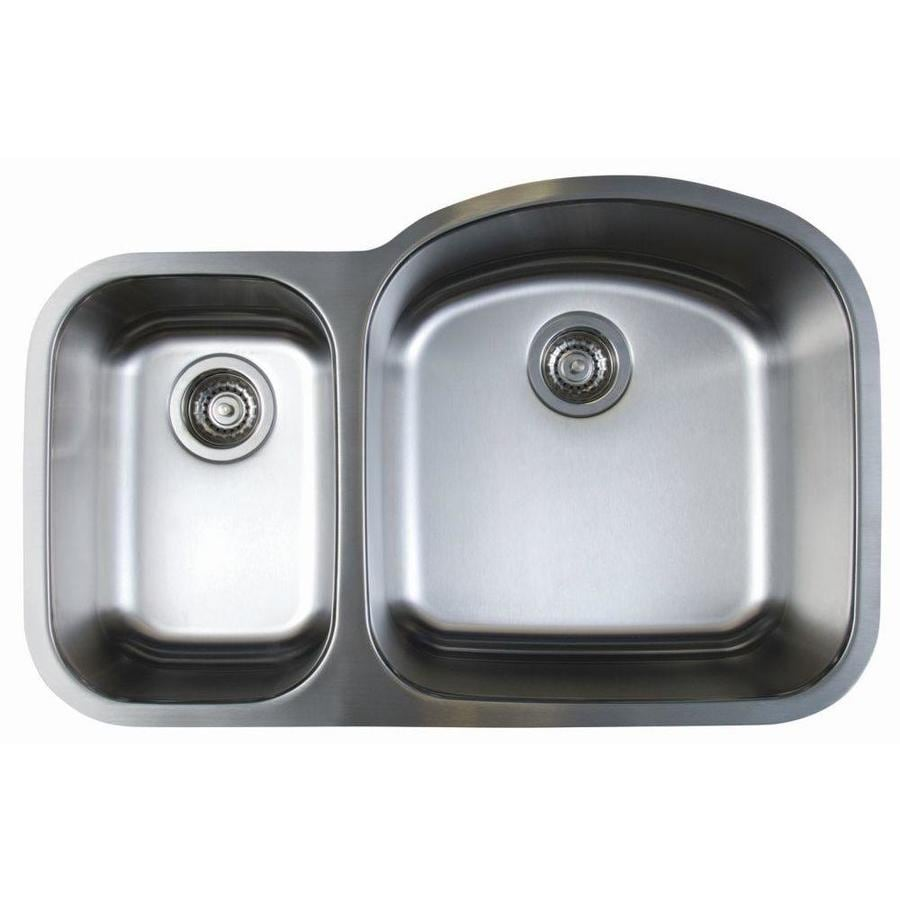 BLANCO Stellar 20.5-in x 31.75-in Refined Brushed Double-Basin Stainless Steel Undermount Residential Kitchen Sink
