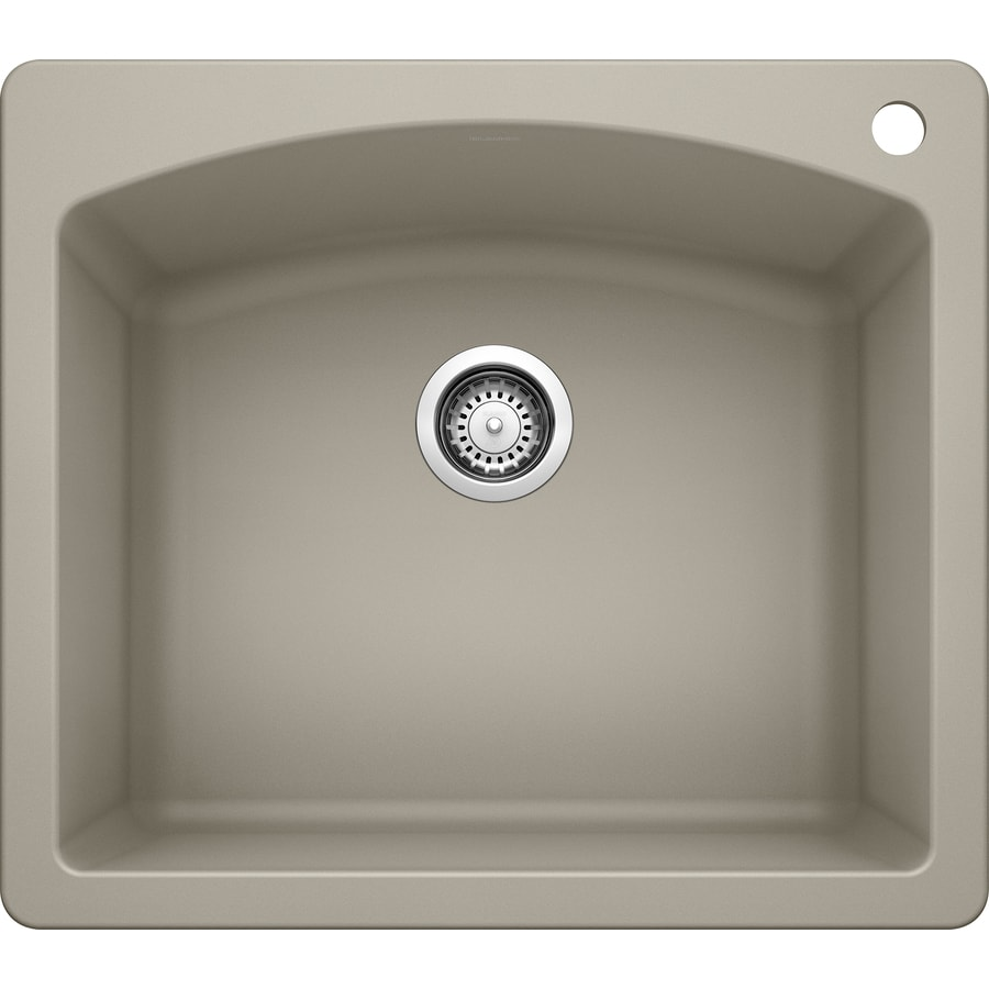 BLANCO Diamond 22-in x 25-in Truffle Single-Basin Granite Drop-in or Undermount 1-Hole Residential Kitchen Sink