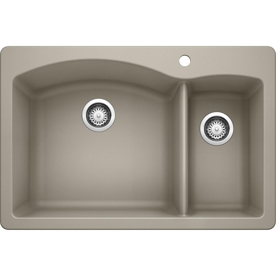 BLANCO Diamond 22-in x 33-in Truffle Double-Basin Granite Drop-in or Undermount 1-Hole Residential Kitchen Sink
