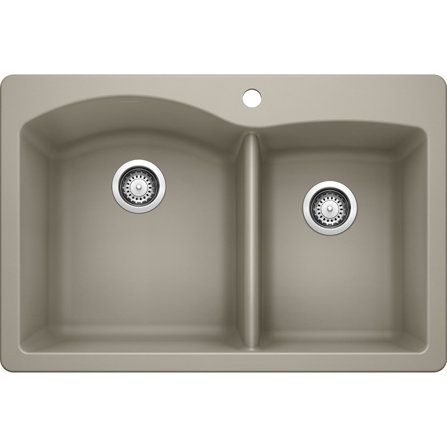 BLANCO Diamond 22-in x 33-in Truffle Double-Basin Granite Drop-in or Undermount 1-Hole Residential Kitchen Sink