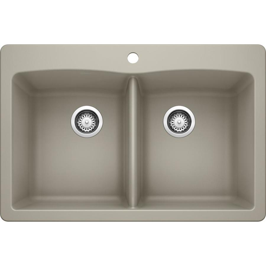 BLANCO Diamond 22-in x 33-in Truffle (Brown) Double-Basin Granite Drop-In 1-Hole Residential Kitchen Sink