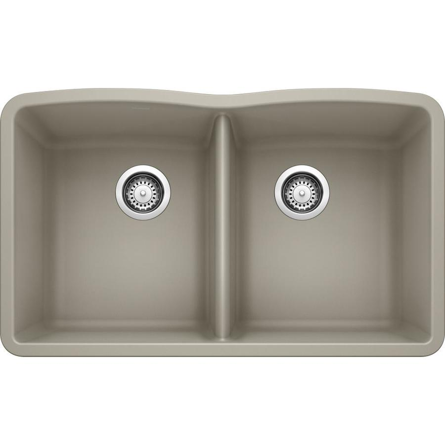 BLANCO Diamond 32-in x 19.25-in Truffle (Brown) Double-Basin Granite Undermount Residential Kitchen Sink