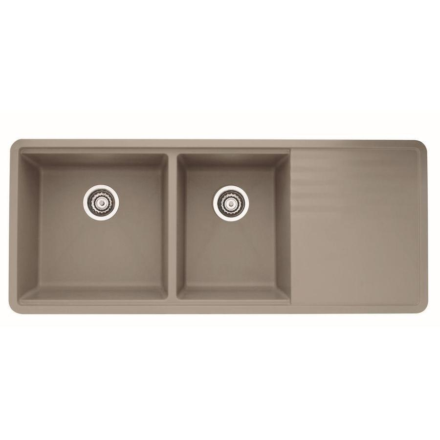 BLANCO Precis 20-in x 48-in Truffle Double-Basin Granite Undermount Residential Kitchen Sink Drainboard Included