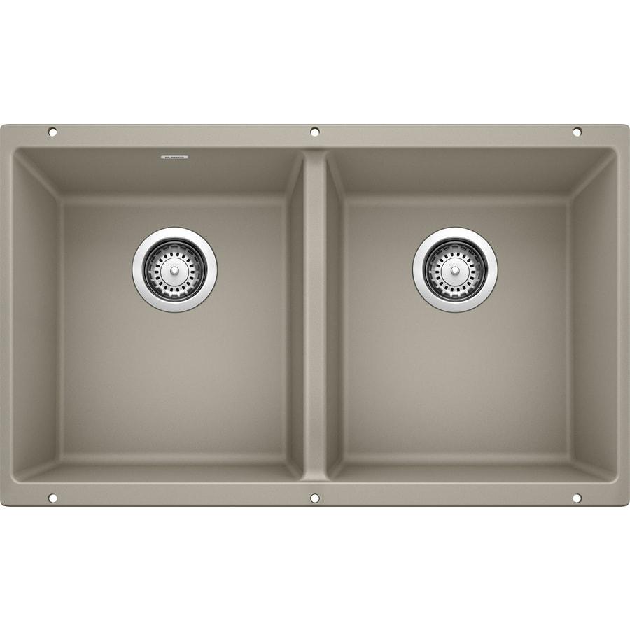 BLANCO Precis 18.125-in x 29.75-in Truffle Double-Basin Granite Undermount Residential Kitchen Sink