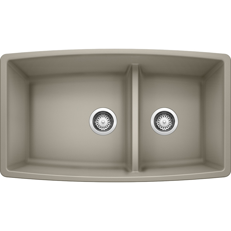 BLANCO Performa 33-in x 19-in Truffle (Brown) Double-Basin Granite Undermount Residential Kitchen Sink