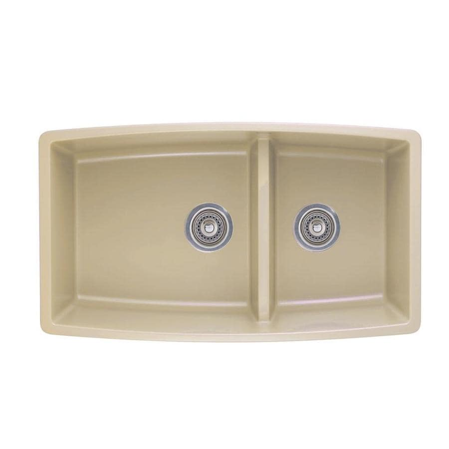 BLANCO Performa 33-in x 19-in Biscotti (Off-white) Double-Basin Granite Undermount Residential Kitchen Sink