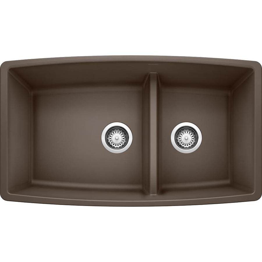 BLANCO Performa 19-in x 33-in Brown Double-Basin Granite Undermount Residential Kitchen Sink