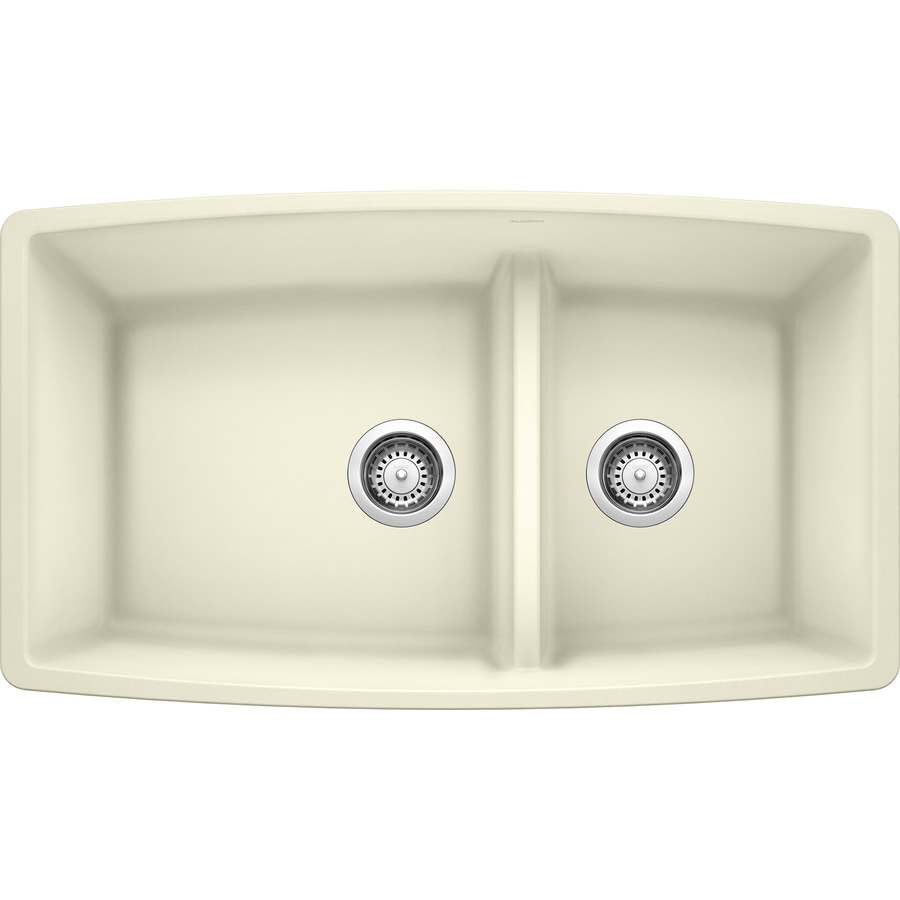 BLANCO Performa 19-in x 33-in Biscuit Double-Basin Granite Undermount Residential Kitchen Sink