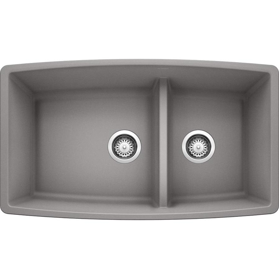 BLANCO Performa 19-in x 33-in Metallic Gray Double-Basin Granite Undermount Residential Kitchen Sink
