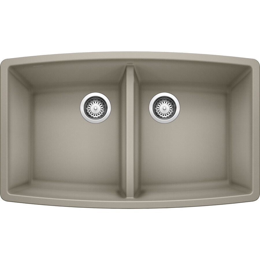 BLANCO Performa 20-in x 33-in Truffle Double-Basin Granite Undermount Residential Kitchen Sink