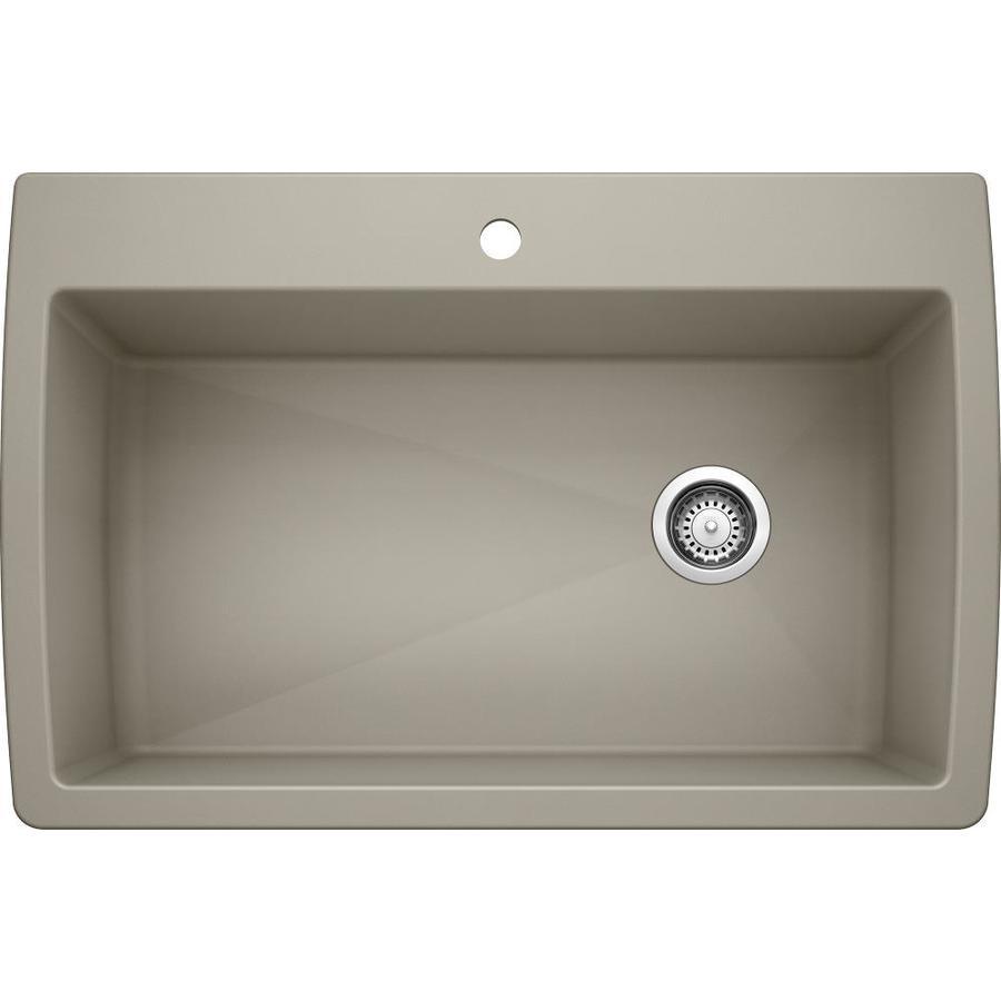 BLANCO Diamond 22-in x 33.5-in Truffle Single-Basin Granite Drop-in or Undermount 1-Hole Residential Kitchen Sink