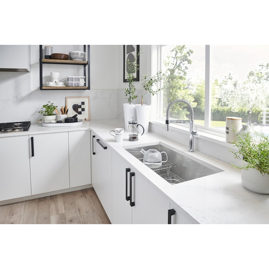 Shop BLANCO Quatrus 18-in x 32-in Satin 1 Stainless Steel Undermount ...