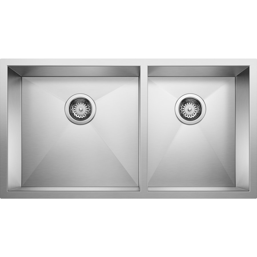 BLANCO Quatrus 18-in x 33-in Satin Double-Basin Stainless Steel Undermount Residential Kitchen Sink