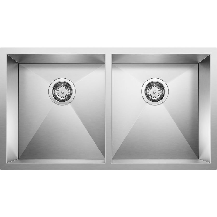 BLANCO Quatrus 18-in x 32-in Satin Double-Basin Undermount Residential Kitchen Sink