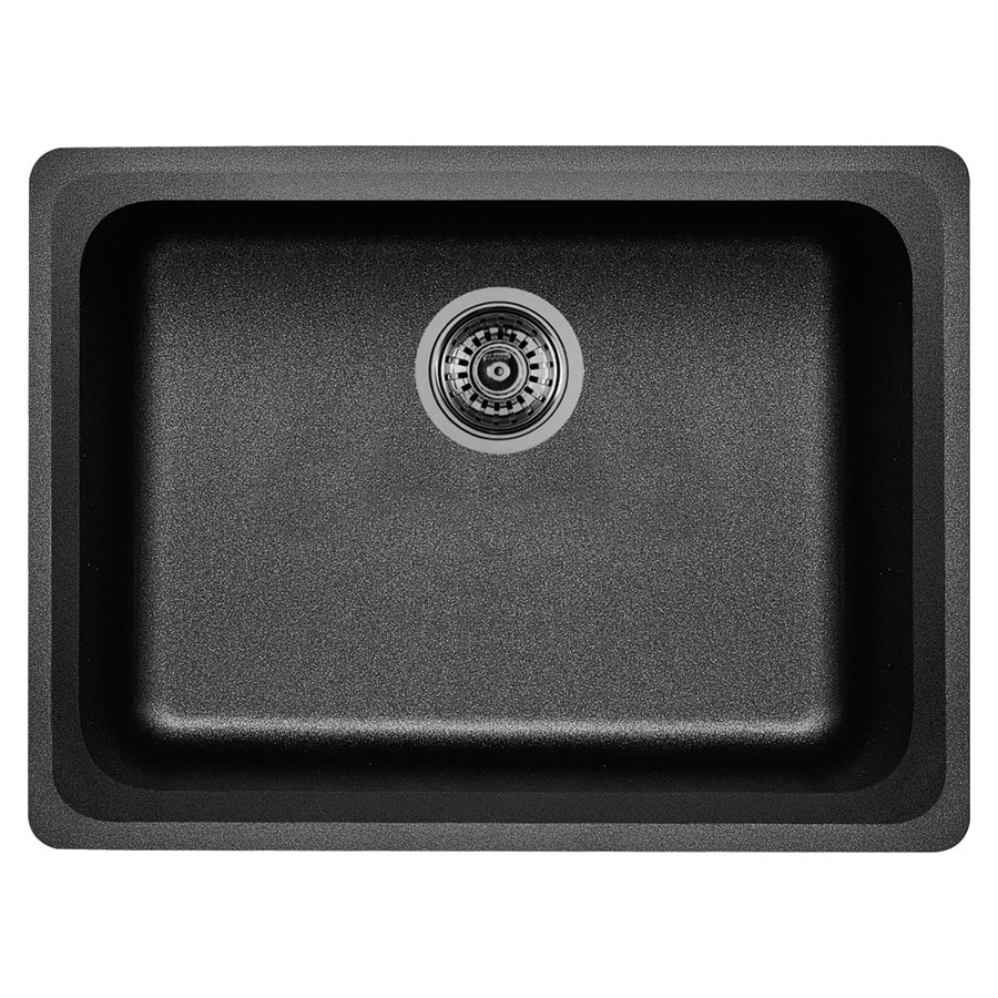 BLANCO Vision 18-in x 24-in Anthracite Single-Basin-Basin Granite Undermount (Customizable)-Hole Residential Kitchen Sink